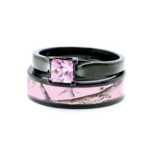 Pink Women`s Black Titanium Camo and Stainless Steel Princess Engagement Wedding Rings Set (5)