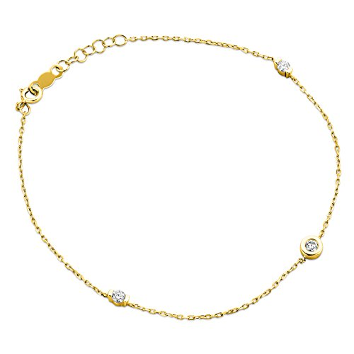 Orovi® - Pulsera para mujer de oro amarillo de 9 ct y 375 con diamantes, corte brillante de 0,14 ct 18 cm