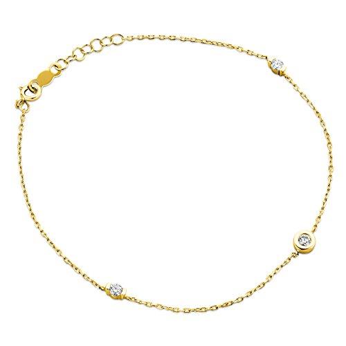 Orovi Bracciale Donna con Catena in Oro Giallo con Diamanti Taglio Brillante Ct 0.14 Oro 9 Kt / 375 Cm 18