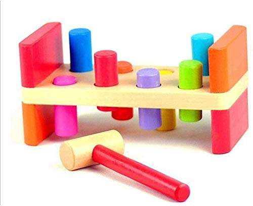 MantraRaj Toy Wooden Hammer Bench - Pound a Peg with Wooden Hammer and Wood Pegs - great Hammering Baby Toy Gift for Babies, 12months, 1, 2,3 and Primary 4 Year Olds