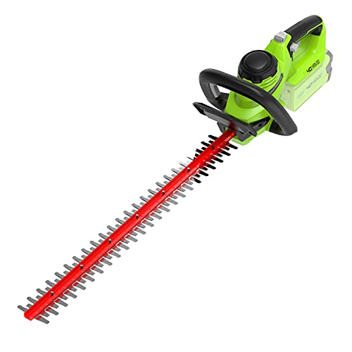 Greenworks Battery Hedge Trimmer G40HT (Li-Ion 40V 61cm Cutting Length 27 mm Tooth Spacing 3000 Cuts/min Adjustable Additional Handle Without Battery and Charger)
