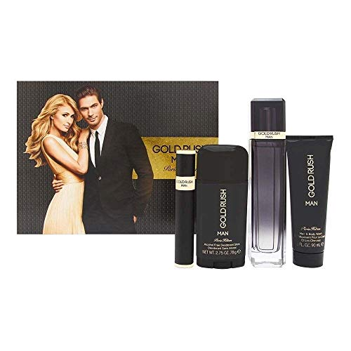 Set Gold Rush Man 4 pzs 100 ml Spray + Body Whas 90 ml + Desodorante 78G + 15 ml Spray de Paris Hilton