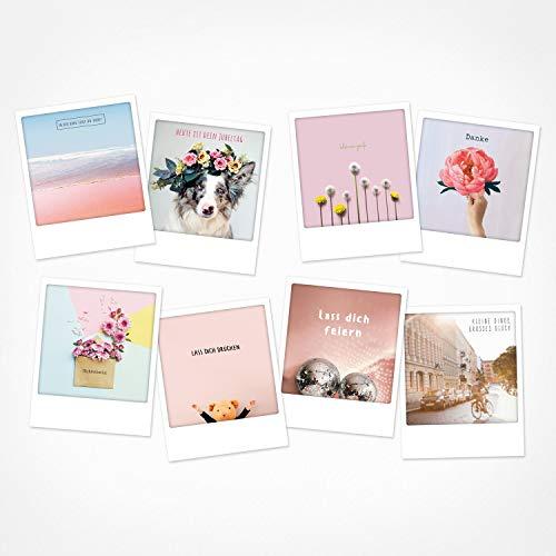 PICKMOTION Set mit 8 Foto-Post-Karten Grüße & Wünsche, Instagram-Fotografen-Geburtstag-Karten, handgemachte Grußkarten, lustige Sprüche & Motive, Tiere, Blumen, bunt, BPK-0121