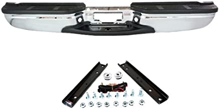 CarPartsDepot, Rear Step Bumper Replacement Chrome Bar With Pad License Lamp Brackets, 364-18122-20-CH FO1101141 F81Z17906BB