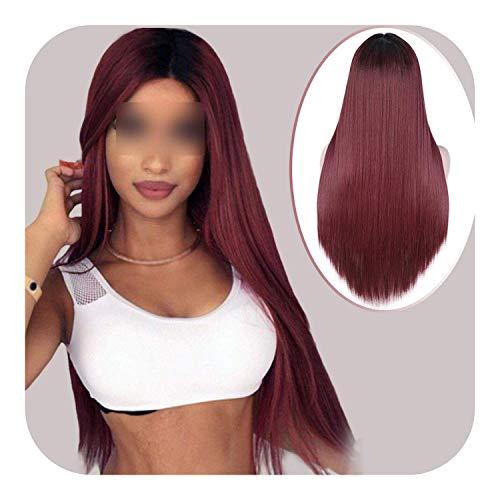 PJPPJH Perruques pour Femmes Cheveux Humains Femmes Blanches, Longue Ligne Droite Noire Perruque synthétique Brun Dentelle pour Les Femmes Partie Moyenne Perruque