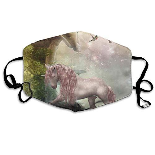 HUIDE Cubierta facial transpirable contra el polvo, diseño de unicornio, hojas doradas, pájaros, twinkling, estrellas, luna, místico, fantasía, hada, decoración facial.