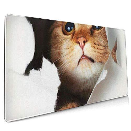 Alfombrilla de ratón para juegos con diseño de gato divertido en D, con base de goma antideslizante con bordes cosidos, para alfombrilla de escritorio, teclado de ordenador y ordenador portátil