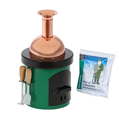Bütic Räucherofen -Braukessel mit Ofenbesteck- Räucherkerzenhalter Räucherkerzen, Räucherfigur:Braukessel grün