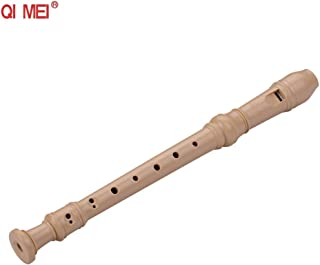 QIMEI QM8A-4B Baroque Style Fingering 8 Holes Soprano Descant Recorder ABS Flute with Cleaning Stick Portable Lanyard Fing...