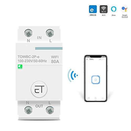 Interruttori automatici 63A 80A Telecomando interruttore automatico WIFI monofase Din Rail WIFI di Ewelink APP per Smart Home TOMZN MCB timer-2P-32A