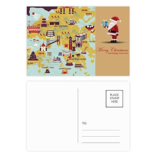 Hong Kong mapa turístico China Santa Claus postal conjunto de tarjetas de gracias por correo 20pcs