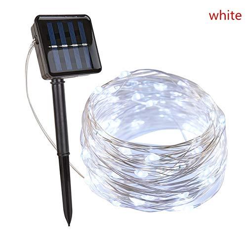 Guirnalda de Luces navideñas para Exteriores, 8 Modos, Luces de Hadas solares para Exteriores,20M 30M LED, Decoraciones navideñas para el hogar al Aire Libre - Blanco, 20M 200LED