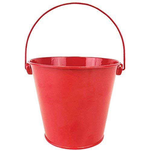 Just Artifacts Mini 3-Inch Height Metal Crayon/Pencil Holder Favor Bucket Pail (6pcs, Red) - Metal Favor Buckets and Craft Supply Holders for School, Birthday Parties and Events!