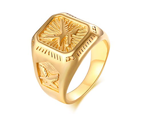 MPRAINBOW Stainless Steel American Eagle Symbol Gold Plated Signet Ring Seal Ring for Men,Dad Father Husband Men Gift