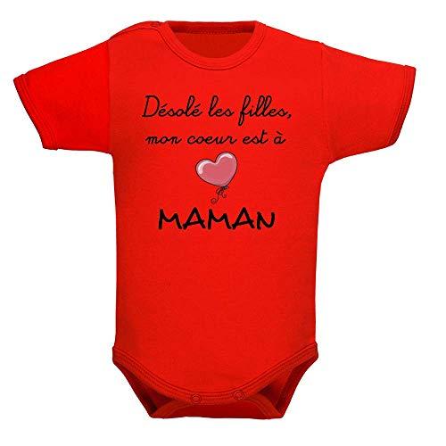 bodybebepersonnalise.fr Body garçon, bodies bébé, brassière enfant, manches courtes, maman, mère, fête des mères, cadeau, cadeau de naissance - Rouge, 6-12 mois