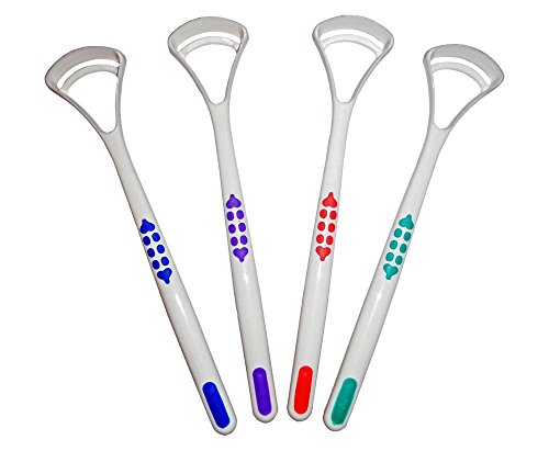 Tongue Scraper Cleaner x 2 ~ Choice of 4 Colours ~ Oral Dental Care (Purple, Green)