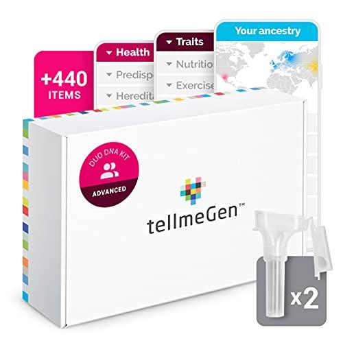 Test ADN Duo Advanced tellmeGen | (Salud + Rasgos + Wellness + Orígenes) | Lo que el ADN dice sobre vosotros