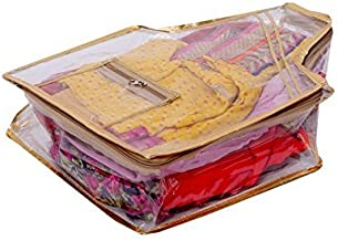 Kuber Industries™ Blouse Cover in Heavy Transparent Material (Golden)
