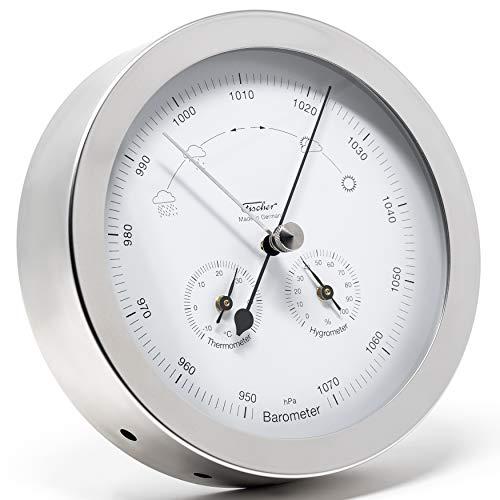 Fischer 1602-01 - Innen- u. Außen-Wetterstation - 160mm Thermometer, Barometer, Hygrometer aus Edelstahl Made in Germany