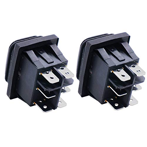 Twidec//2Pcs Waterproof 16A 250V 20A 125V AC 6 Pins 3 Position ON//Off//ON DPST Rocker Toggle Switch Boat Or Car Black KCD4-203N-BK