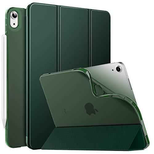 MoKo Hülle Kompatibel mit iPad Air 4. Generation 2020 Neu iPad 10.9 Zoll 2020, [Unterstützt 2. Gen iPencil Laden] Folio Schutzhülle Ständer TPU Weich Transluzent Rücken Auto Wake/Sleep, Nachtgrün