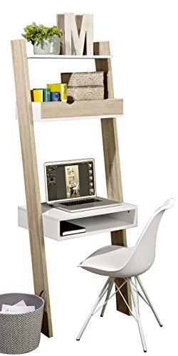 SoBuy FRG111-WN Bücherregal mit Schreibtisch Standregal Wandregal mit Ablagen BHT ca.: 65x176x40cm