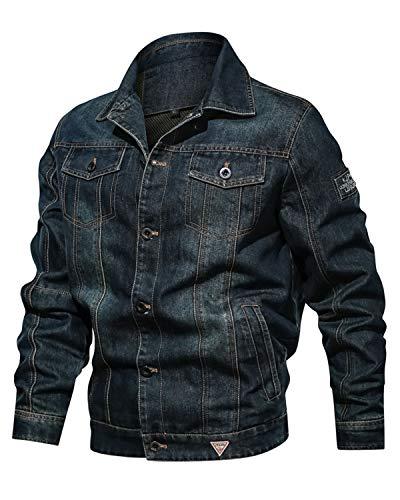 Uusollecy Herren Classic Denim Jacket Jeansjacke Trucker Jacke mit Leichtem Futter Übergangsjacke Freizeitjacke für Männer
