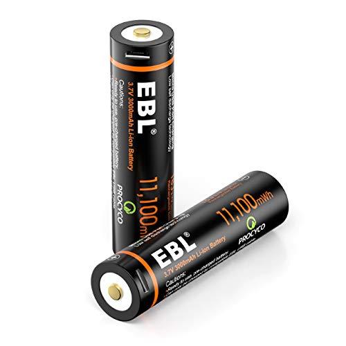 EBL 3.7V Li-ion Rechargeable Batteries 3000mAh 18J Lithium Battery for Flashlights, Headlamps, Doorbells, RC Cars (2 Pack)