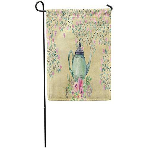 Zome Lag Tuin Vlaggen Seizoen Vlag Banners 32X45.7CM Roze Mooie Elegante Aquarel Theepot en Bloemen Groen Haar Outdoor Decoratieve Huis Yard Vlag