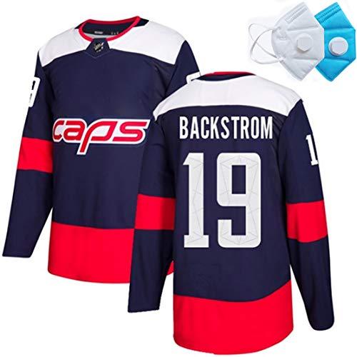 DSASAD Erwachsene und Kinder Eishockey Sportkleidung, BACKSTROM19 KUZNETSOV92 Eishockey gestickte Top, 100% Polyester-Faser, weiche Textur, Feiertags-Geschenk für Familie oder Freunde Dark blue19-S