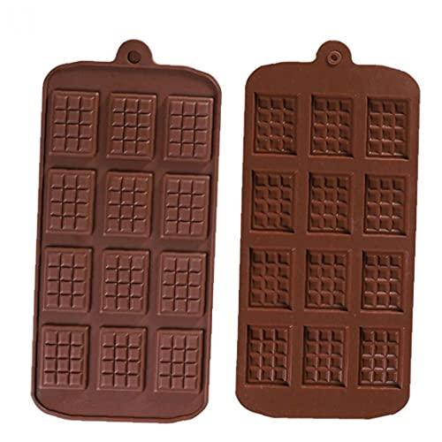 LjzlSxMF Molde del Chocolate de 12 Cavidad del Chocolate DIY silicón de la Bandeja para Hornear la Pasta de azúcar del Molde Herramientas de 2 Piezas