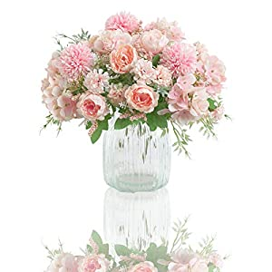 Artificial Flowers, 2 Pack Fake Peony Silk Hydrangea Bouquet Decor Plastic Carnations Daisy Realistic Flower Arrangements Wedding Decoration Table Centerpieces,for Home Office Party Decor (Pink)