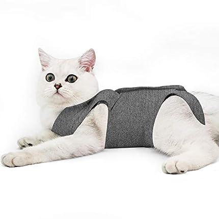 Dotoner Gatos Traje de recuperación Profesional para heridas Abdominales o Enfermedades de la Piel Alternativo para Gatos y Perros después de la cirugía Ropa para el hogar(Gris,l)