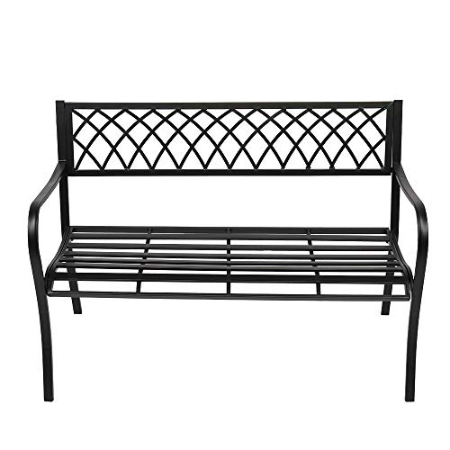 VINGLI 47' Patio Outdoor Metal Bench,Powder Coated Cast Iron Steel Cross Design for Garden Path Yard Lawn Work Entryway Decor Deck, Black