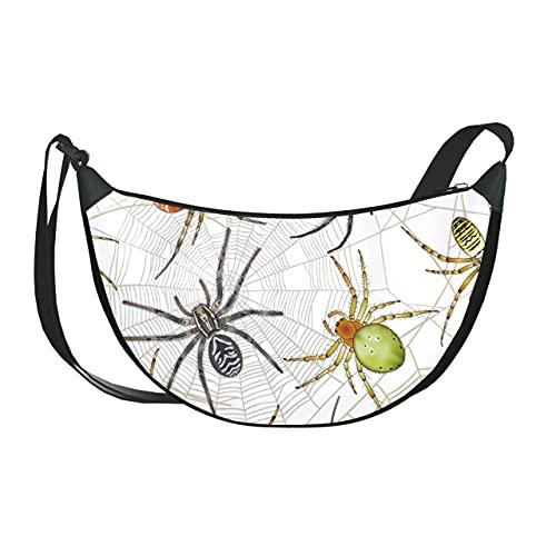 Sac à bandoulière croisé pour femmes sac à bandoulière araignée animale dessin animé insecte rampant sac à bandoulière pour femme avec fermeture à glissière pour femmes