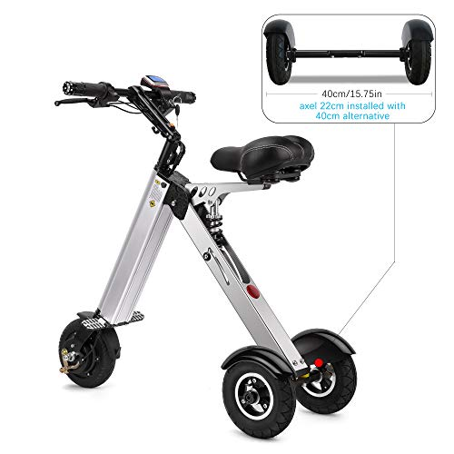 TopMate ES31Electric ScooterMini Tricycle| Key Switch3 Gears |Rear Axle Suspension |for Mobility Assistance and Travel Bicycles Electric Features Outdoor Recreation