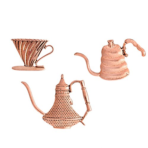 3pc Vintage Coffee Cup Brooch Latte Art Filter Cup Pot Pin Afternoon...