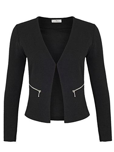 Damen Blazer mit Taschen (382), Farbe:Schwarz, Kostüme & Blazer für Damen:40 / L
