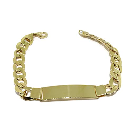 Never Say Never Men's 18k Yellow Gold Bracelet with Plate, 1 cm Wide and 21.5 cm Long, 100% Customizable, Lobster Clasp