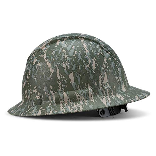 Full Brim Hard Hat Construction OSHA Hardhats, Men Women Safety Helmet, 6 Point, Custom Camouflage Design, by Acerpal, Hidden Warrior Camo