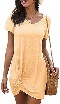 Sidefeel Womens Short Sleeve Side Knot Mini Dress (various)