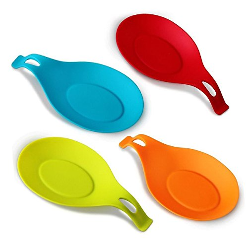 XINGXINRONR Repose cuillère/Fouet/Spatule/Louche. Pose ustensile/Couvert en silicone alimentaire, Ovale et élégante. Set de 4 REPOSE-CUILLERE (19,5cmx10cm) Multicolore