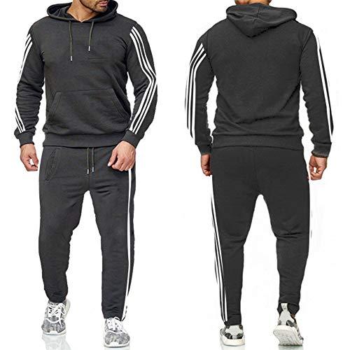 JX-PEP Conjunto de 2 piezas para hombre de chándal de otoño invierno con capucha + pantalones con cordón para hombre, ropa de entrenamiento, manga larga, gris oscuro, XXL