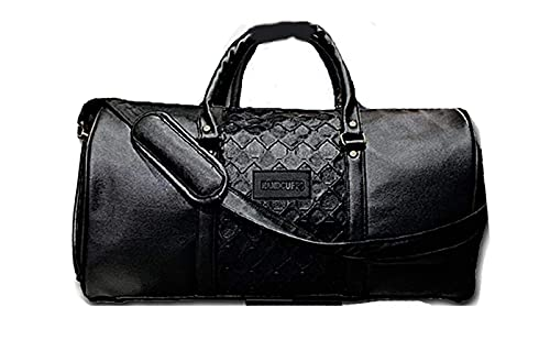 Handcuffs Unisex PU Leather Weekender Travel Overnight Carry-on Duffel Tote Bag (Orange, Large)