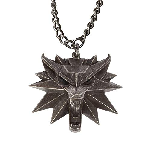 Tclothing Diamant Pendentif avec chaîne The Witcher 3: Wild Hunt - Witcher Wolf Medaillon Chic