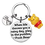 Winnie the Pooh Keyring Inspirational Gifts for Women When Life Throws You a Rainy Day Play in The Puddles Keyrings Friendship Gift Pooh Bear Ornament