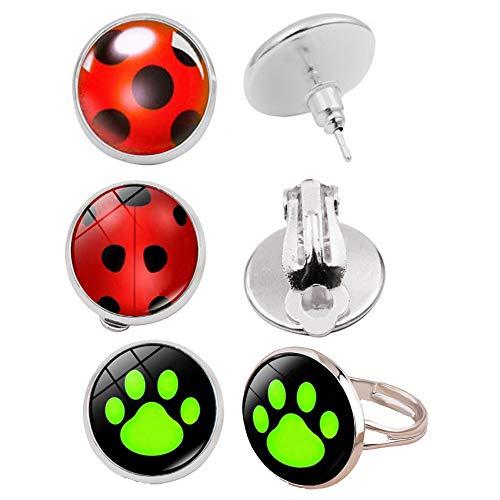 Orecchini a forma di coccinella e gatto nero anello clip su orecchini costume Cosplay gioielli accessori per bambini ragazzi ragazze bambini compleanno festa regalo