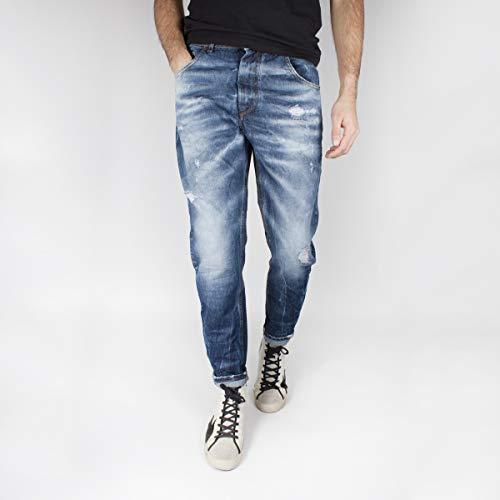 KLIXS Jeans Kevin Uomo Medium Blue Denim Cropped con Strappi 1170LO 52