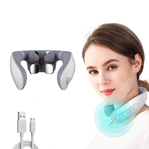 Nackenmassagegerät,Intelligentes Elektrisches Puls-Nackenmassagegerät,Neck Relax,6 Pulsmodi, 18 Intensitätsempfindungen, Kabellos Tragbares 3D-Massagegerät,Verwendung zu Hause,im Auto,im Büro