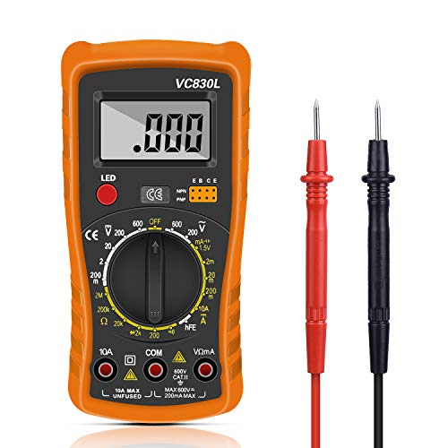 FEALING Multimetro Digital Profesional,Voltímetro Amperímetro Ohmímetro Probador Voltaje Multicomprobador AC/DC con Retroiluminación LCD para Laboratorio, Fábricas